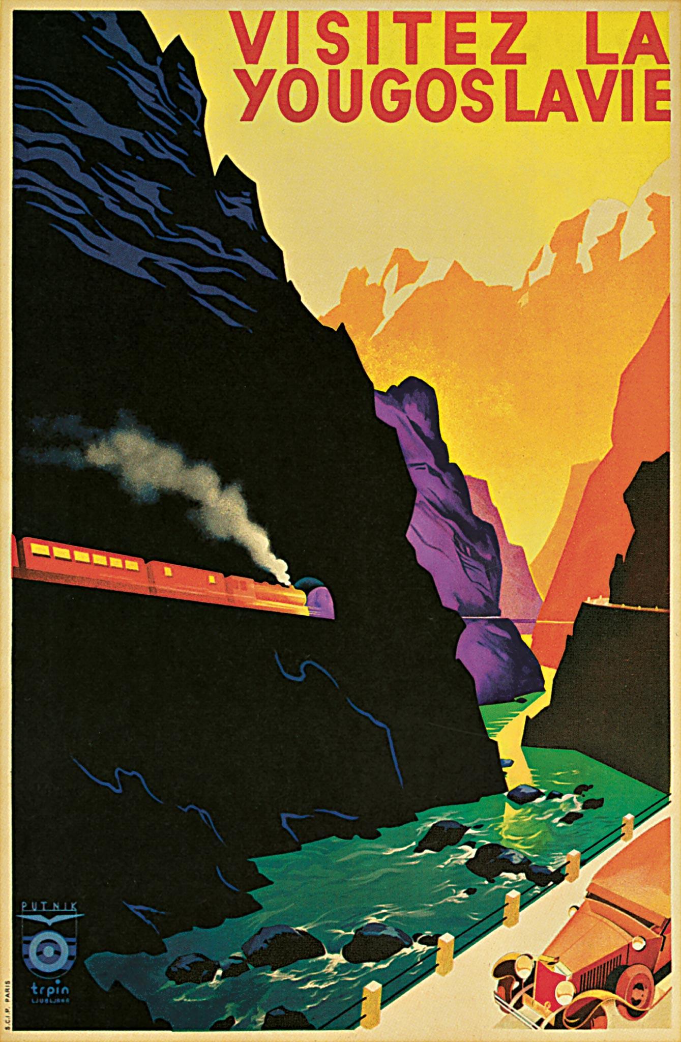 Toeristische poster uit de tijd van de Oriënt Express getekend door de Sloveense artiest Janez Trpin.