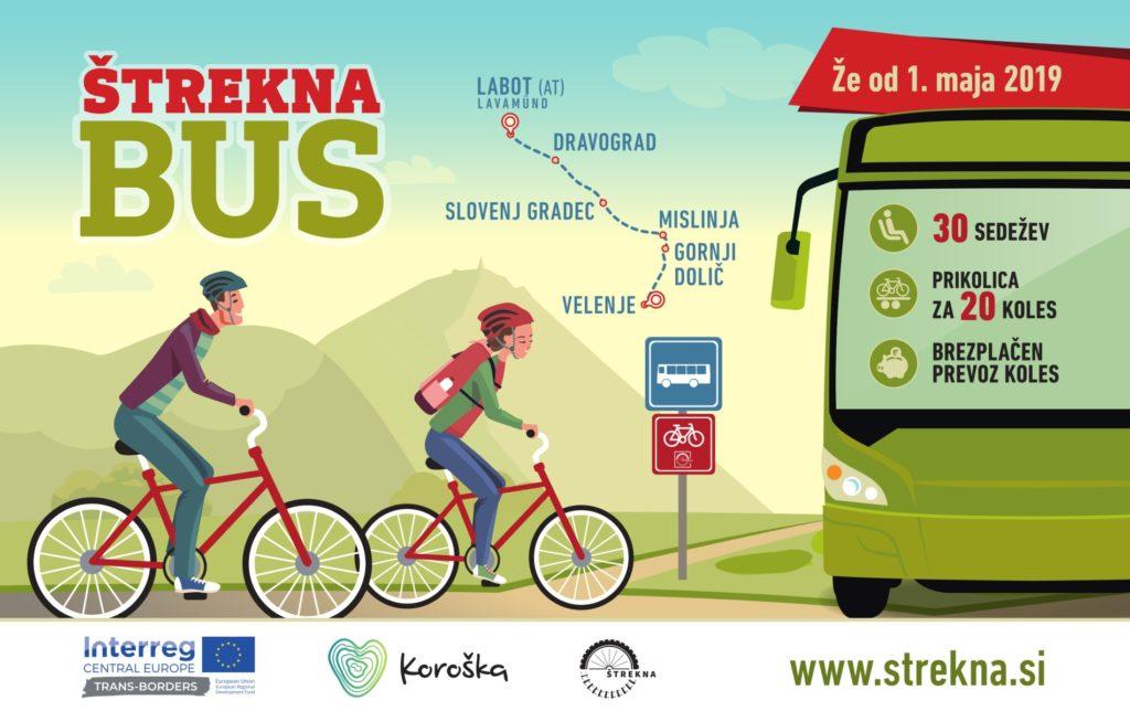 Toeristische bus Strekna voor fietsvakanties