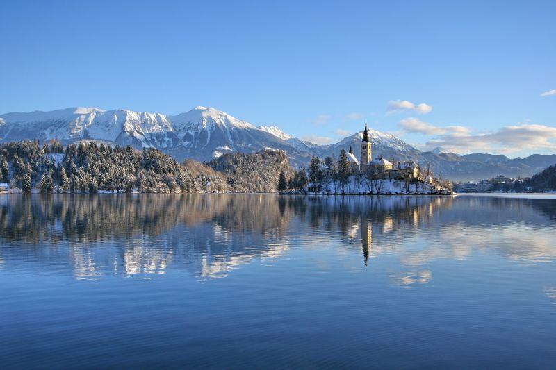 Bled meer in winter