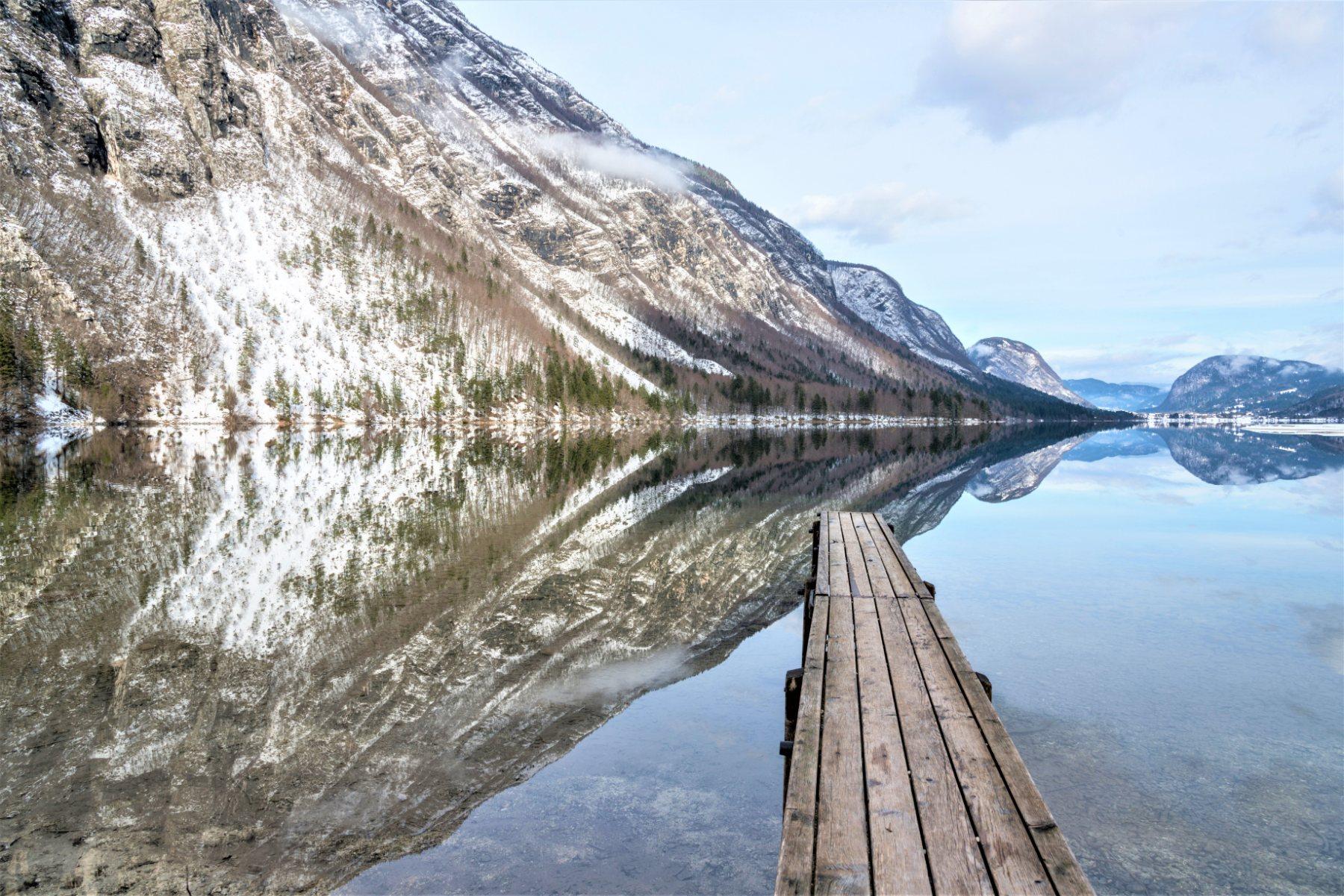 Bohinj meer in winter Slovenie ski