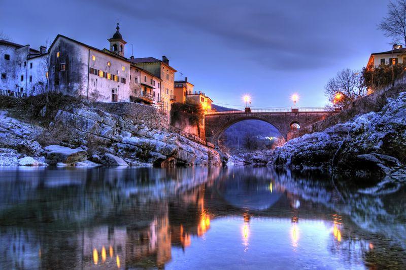 Soca vallei in winter Slovenie