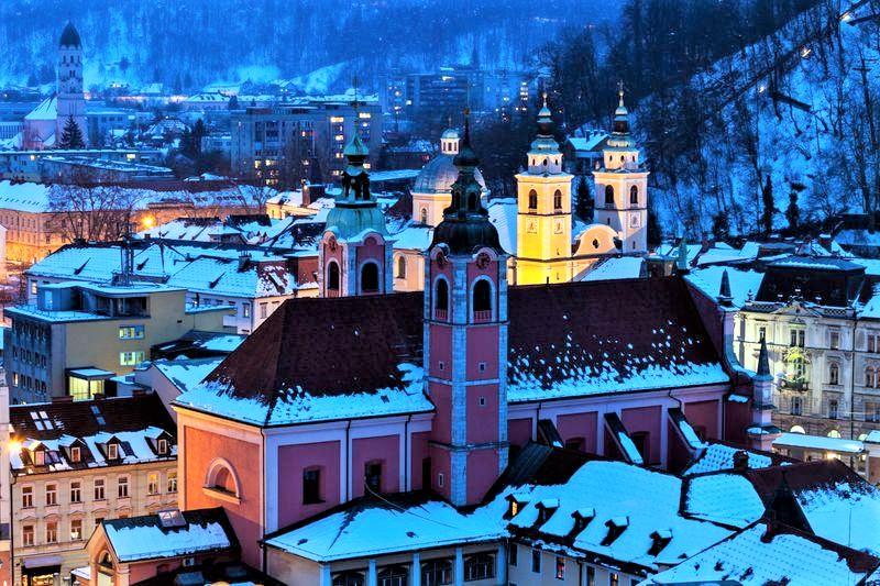 Ljubljana in winter Slovenie