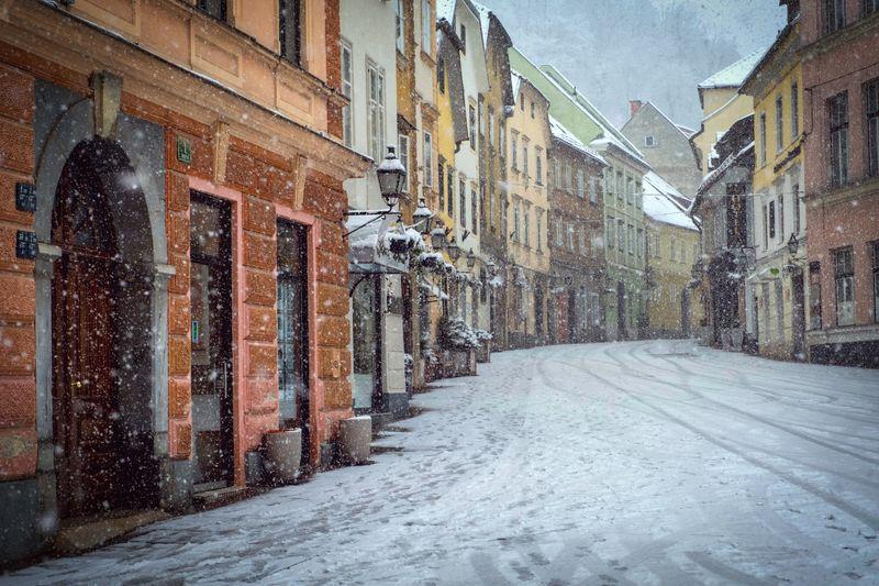 sneeuw in Ljubljana in winter Slovenie