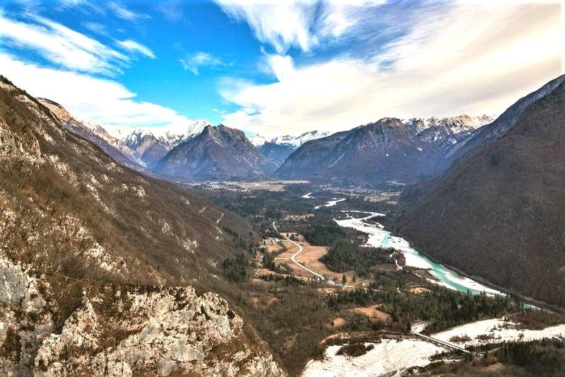 Soca vallei Bovec in winter Slovenie wintersport