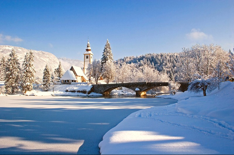 Bohinj meer in winter
