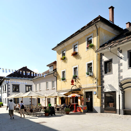 Radovljica oude centrum in Juliaanse Alpen in Slovenië